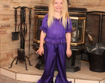 Princess Jammies - Purple w/Purple Lace - Toddler and Girls Sized Tricot Pajamas - Pick A Color!