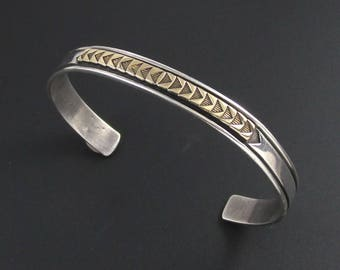 MM Rogers Sterling Silver 14K Gold Bracelet, Navajo Bracelet, Mixed Metal Bracelet, Sterling Bracelet, Chevron Bracelet, Arrow Bracelet