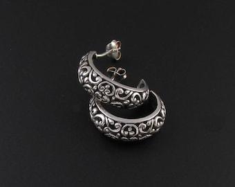 Sterling Silver Filigree Hoop Earrings, Sterling Hoop Earrings, Scrolled Metal Earrings, Silver Hoop Earrings, Sterling Silver Hoop Earrings