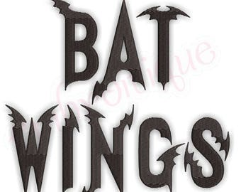 "BatWing Bat Halloween Font-1"", 2"", 3"", 4"", 5""  A-Z, 0-9 BX Files included- Instant Download Machine embroidery design"