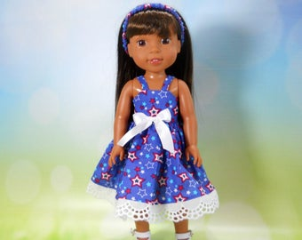 Designed for 14.5 inch dolls such as Wellie Wishers, Blue Dress with Red white and blue stars and stripes, 05-2116