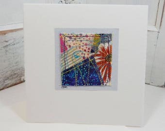 Random Threads Mini Abstract Fabric Collage Card  - original art card (orange flower)
