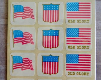 Vintage Old Glory Seals Hallmark American Flag Stickers Sealed in Package Fourth of July 48 Seals Stickers