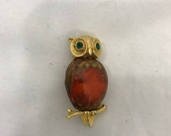 Vintage Owl Brooch Pin Rhinestone Eyes