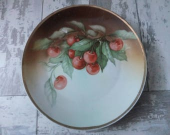 Vintage Hand Painted Plate Red Cherries on a Vine Decorative Collector Cabinet Brown Fruit Plate 8 Inch