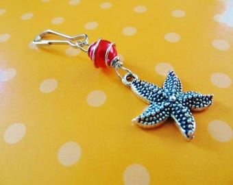 SALE Store Closing - Zipper luggage pull-Starfish in Orange-Beach Candies Bag Bling by Jessentials