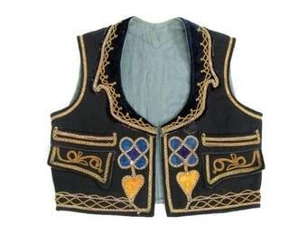 25% off Summer SALE Vintage Antique Velvet Embroidered Vest Gypsy Hippie Boho Ethnic Vest Gold Turkish Vest Medieval Waistcoat Black Cropped