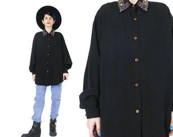 25% off Summer SALE 1980s Beaded Collar Shirt Embellished Black Shirt Metallic Embroidered Beaded Shirt 80s Womens Blouse Gem Buttons Glam E