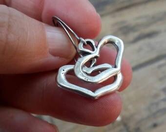 Rustic Silver Heart Drop Earrings   Antique Puffy Cookie Cutter Heart Shape Earrings Romantic Dangle   Gift for Heart Lovers   I Heart You