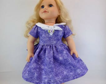 18 inch Doll Dress Fits American Girl Doll  Purple Dress White Collar