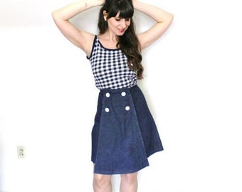 ON SALE 1960s Denim Skirt / 60s Nautical Sailor High Waisted Denim Skirt Skort