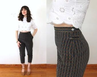 1950s Cigarette Pants / 50s 60s Cropped Capri Pants / 1950s 1960s Deadstock NOS High Waisted Cotton Corduroy Tapered Capri Pants