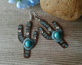 Large Turquoise Cactus Earrings