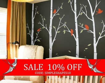 Summer Sale - Tree wall decals - Thin Birch Tree Wall Decals Sticker Set