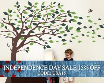 Independence Day Sale - Wall Decals Tree wall decal: Elegant Style Blowing Leaves Tree Decal for Baby Nursery or Home