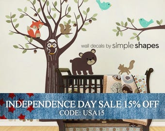 Independence Day Sale - Wall Decals Nursery Tree with Forest Friend - Kids Wall Decals Nursery