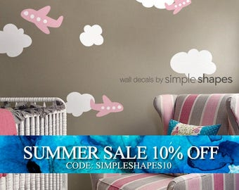 Airplanes with Clouds Decal Set - Kids vinyl Wall Sticker