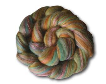 Merino & Bamboo Blend Combed Tops 100g Spinning Felting Weaving Bonbon Green Orange Craft Wool Roving Handspun Handspinning