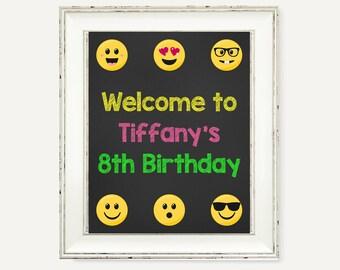 Emoji Birthday Sign, Emoji Birthday Welcome, Emoji Welcome Sign, Emoji Party, Printable Emoji, Smile Emoji Sign, Emoji Decor,Instagram Party