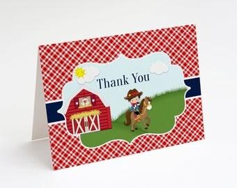 Cowboy Birthday Thank You Card, Boy Birthday Party, Birthday Thank You Card, Horse Birthday, Farm Birthday, Cowboy, Lil' Partner, Download