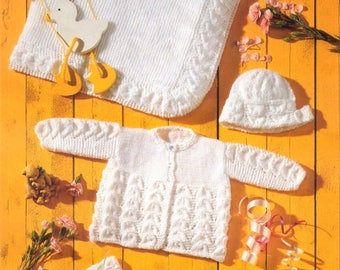 Baby KNITTING PATTERN  Matinee Jacket, Shawl, Mitts, Bonnet and Bootees - Prem sizes through to 2 years