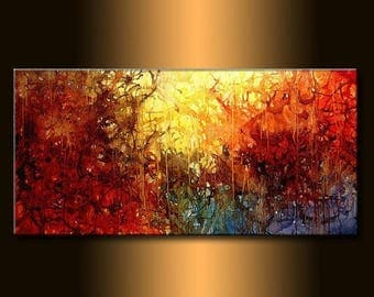 Modern Painting Original Abstract Contemporary Fine Art by Henry Parsinia Large 48x24