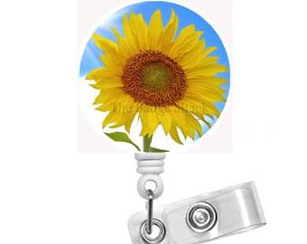 """Sunflower Blue Sky 1.5"""" - Badge Holder - Sunflower Badge Reel - Nursing Badge - Teacher Badge Reel - Medical Badge - Pretty Badge Reel - RN"""