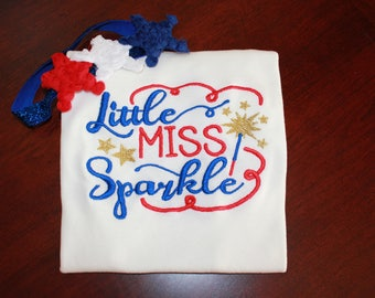 4th of July shirt girl Babies Kids Little Miss Sparkle July 4th 1st 4th of July shirt onesie or shirt with FREE Headband