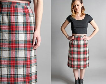 SPRING SALE 25% OFF Vintage Ruby and Emerald Pencil Skirt - Straight A-line Knee Length Midi Red Green White Plaid Holiday Fall Collegiate -