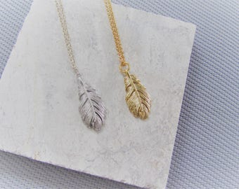 Golden Feather Necklace, Silver Feather,Bridesmaids Gifts,Boho Jewellery,Birthday Gift,Gold Necklace,Bridesmaid Gift, Charm Necklace