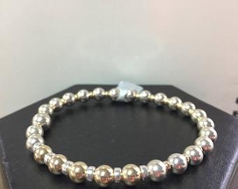 Sterling Silver  And 14k Gold Filled Beaded Bracelet