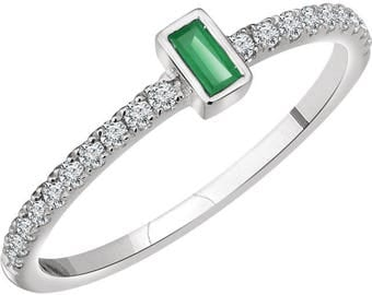14kt White Gold Genuine Emerald Baguette & Diamond Unique Engagement Ring, May Birthstone Ring