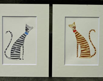 Cat couple original watercolor, simple, whimsical, children's art, set, cat couple, kissing cats, grey, striped, tabby, orange, matted