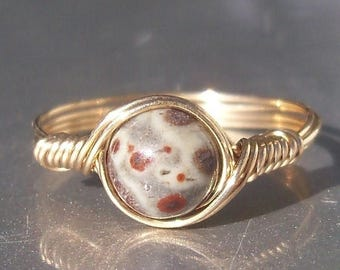 25% Off Sale Orbicular Jasper 14k Gold Filled Wire Wrapped Ring Custom Sized