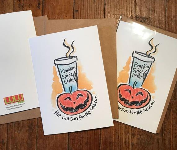 Pumpkin Spice Latte- Halloween Card