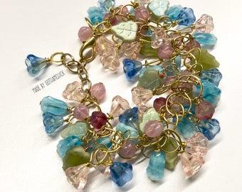 Spring Flowers Czech Pressed Glass Garland Bracelet BR-43