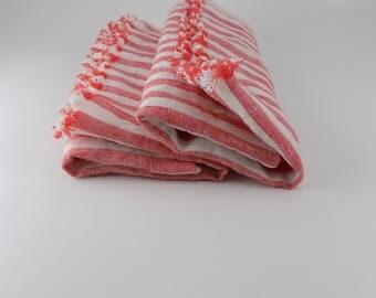Handmade Linen Napkin / Towel / Placemat / Frayed / Set of 2