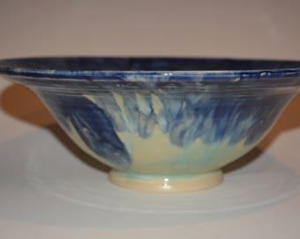 Ceramic Bowl, Handmade Pottery Bowl, Blue and Green, Serving Bowl