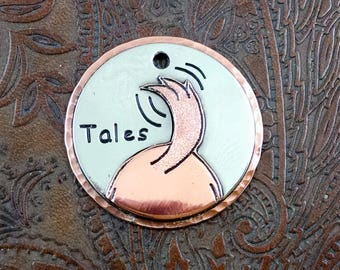 Dog Tail-Tales-ID Tag-Personalized Dog Collar ID Tag-Pet ID Tag- Key-chain Fob or Luggage Tag Wags