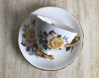 Gladstone Tea Cup England Yellow Rose Shabby Cottage Fine China Teacup