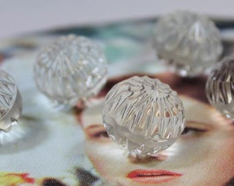 Glass Ball Buttons 5 Beautiful Clear Cut Glass Buttons