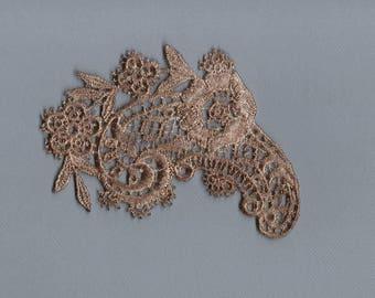Hand Dyed Venise Lace Applique Edwardian Floral Paisley Aged Tea Bath