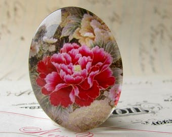 Magenta peony flower, handmade glass oval cabochon, from our Fabulous Florals collection, 40x30mm 30x40mm 40x30 30x40 40mm 30mm
