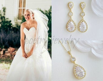 Bridal Set Gold Pendant Wedding Set Rose Gold Crystal Earrings Pendant Necklace CZ Bridal Set Gold Bridal Jewelry, Evana