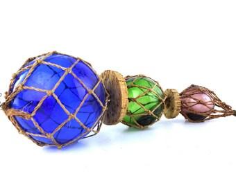 glass fishing floats. japanese glass balls. set of 3. colorful glass ball. handblown glass. fishing net. cork float. nautical decor. beach