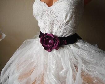 Plum Bridal Sash Belt, Purple Wedding Sashes, Amethyst, Concord, Plum Flower wedding belt, Flower girl belts