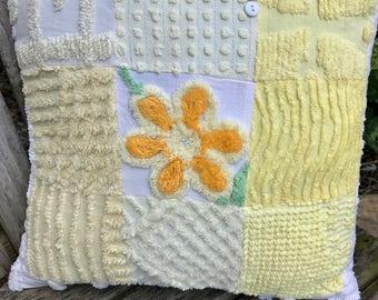 Yellow Vintage Chenille Patchwork Pillow Handmade Doodaba Nursery Lake Patio