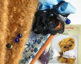 German mohair fabric, glass eyes, cotton batiste fabric liberty of london tana lawn, silk ribbon french lace, teddy bear pattern, set #18
