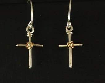 Sterling Silver and Gold Filled Cross Earrings