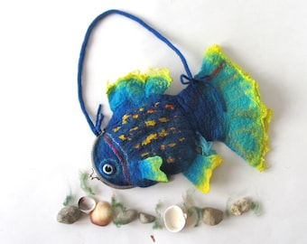 Felt fish purse cosmetic purse felt purse Blue   Fish  Yellow Turquoise fish octopurse nautical fanny packs by Galafilc